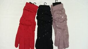 BNWT Wool Mix Long Cuffs Ladies Gloves with Diamante Detailing 3 Colours Avail.