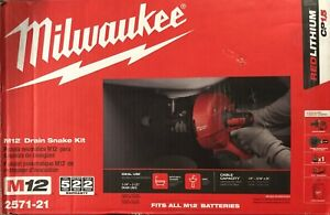 Brand New Milwaukee M12 Cordless Drain Snake Kit with Bucket 2571-21 Free Ship