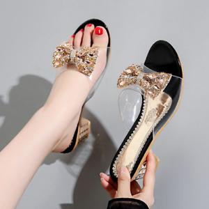Women High Heels Slippers Rhinestone Bowknot Open Toe Sandals Sexy Shoes Slip On