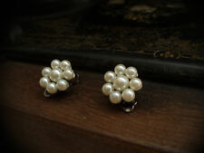 Vintage Round Cluster Pearl  Clip  Earrings. Palladium Plated