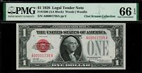 1928 $1 Legal Tender FR-1500 - Red Seal - PMG 66 EPQ - Gem Unc. - Low Serial