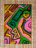 ACEO original pastel painting outsider folk art brut #010394 abstract surreal