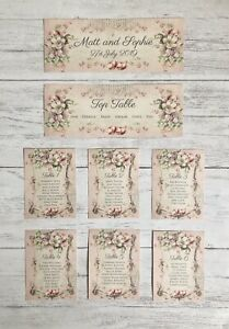Wedding Table Plan Cards Seating Planner Vintage Style Pink Floral