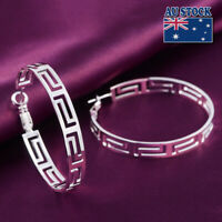 Unique New 925 Sterling Silver Filled 45mm Big Round Hoop Earrings Greek Style