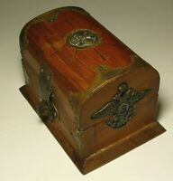 WWI Military Box Double Headed Eagle Imperial Russia Wood Brass