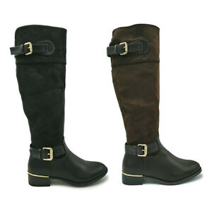 Womens Knee High Suede Leather Flat Low Block Heel Buckle Ladies Riding Boots
