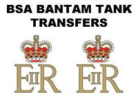 BSA Bantam Royal Mail Tank Transfers Decals Motorcycle Sold as a Pair Crown ER