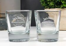 (2) Jack Daniel's Single Barrel Etched Rock Glass Barware Drinkware Collectible