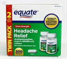 2x Equate Acetaminophen Excedrin Headache Extra Strength 100 Caplets Exp: 07/22