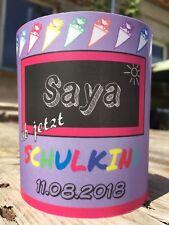 4 x Tischlicht Schuleingang Lila-Pink Windlicht Einschulung mit Name, Datum