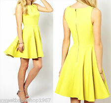 WOMENS Casual Celebrity Club Party Work Metal Zip Flared Skater Dress YELLOW 2XL