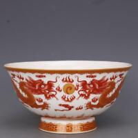 Collect Chinese jingdezhen Porcelain Famille Rose Two Dragon Play Sphere Bowl