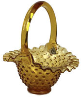 "Vintage Amber Fenton Glass Hobnail Basket w/ Handle - 7"" Tall"