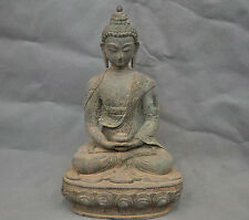 "13"" China Old Tibetan Buddhism Shakyamuni Sit Buddha Bronze Statue"