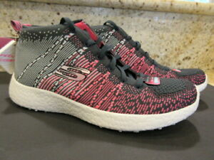 Skechers Burst Divergent Womens High Top Athletic Shoes Size 7.5 Pink/Gray/Black