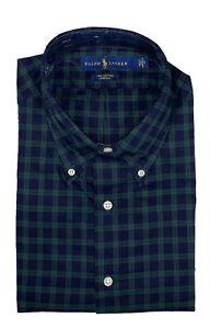 Men's RALPH LAUREN Green Blue Plaid Dress Shirt 16 1/2 34/35 NWT Cotton Stretch