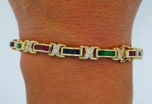 14K Yellow Gold FN Tennis Bracelet Diamond, Ruby,Sapphire & Emerald Over Silver