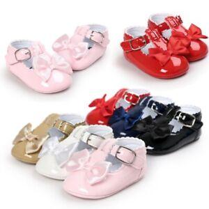 Newborn Baby Girls Shiny Crib Pram Shoes SPANISH Style Bow Soft Sole Prewalker