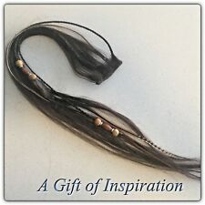 Clip in 100% Remy Human Braided Beaded Hair Genuine Grizzly Feather Extension