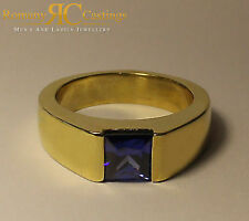 Unisex 1.75ct CZ Sapphire Comfort Fit Ring Jewellers Bronze Dipped in 9ct Gold