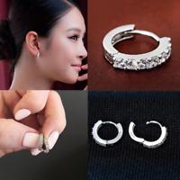 925 Sterling Silver Plated CZ Cubic Huggie Hoop Crystal Earrings Women Fashion