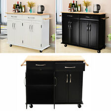 Large Rolling Kitchen Storage Trolley Cart Cupboard Island Shelves Locking Wheel