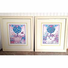 Mary Engelbreit Pair 2 Signed & Numbered Limited Framed Print Topiary 15x17