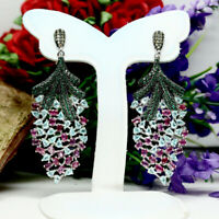 NATURAL RED RUBY, NEON BLUE APATITE & CZ LONG EARRINGS 925 STERLING SILVER