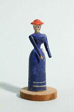 Erzgebirge Spielzeug 7 cm Figur - Dame mit Hut um 1900 auch für Blecheisenbahn