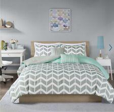 Full Queen Bedding Set Teal Grey Chevron Design Ella Comforter + Sheets Pillow