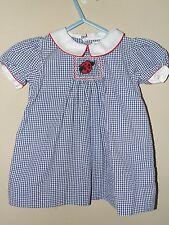 Petit Ami 6M Smocked Ladybug Dress Blue Gingham Seersucker Red Summer Boutique