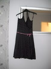 Ladies New Look Black /pink spots halterneck lined dress size 14viscose/elastane