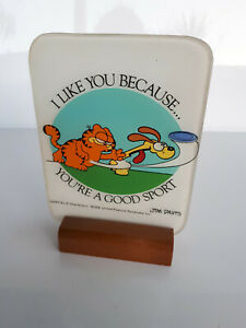 """Vintage Garfield Plaque/Ornament """"I Like You Becuase You're A Good Sport"""" 1978"""