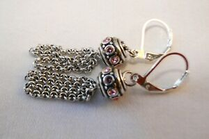 Altered Brighton  Silver & Pink Crystal Glam Bead Tassel On Lever Back Earrings