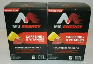 2 Boxes MIO ENERGY Strawberry Pineapple On the Go 20 packets Caffeine B Vitamin