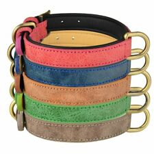 Dog Collar Leather Adjustable Heavy Duty D-ring Small Medium Puppy Pets XS S M L