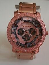 Mens hip hop Rose Gold finish TECHNO ICE Rapper Club style fashion watch