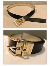 "Kate Spade Classic Black Leather Belt Sz Small 25"" to 29"" Waist Gold Buckle"