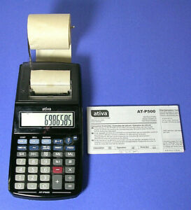 Ativa AT-P500 Handheld Printing Calculator Instructions Partial Paper Roll Works