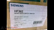 SIEMENS HF362, HEAVY DUTY SAFETY SWITCH, 3P, 60A, 600VDC, NEW #201726