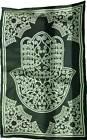 "Large Black & White Hamsa Hand of Compassion Fatima 72x108"" Cotton Wall Tapestry"