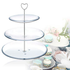 5 Sets Silver 3 Tiers Plates Cake Stand Heart Fittings Handle Rod Wedding Table