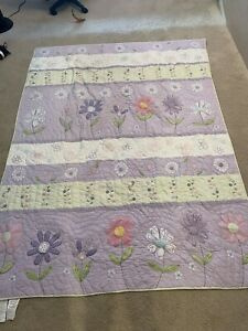 Pottery Barn Kids Twin Daisy Garden Purple Floral Applique Quilt.