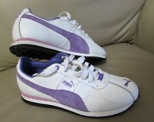 Puma Turin Woman's Leather Sneaker Athletic Running Shoes White And Purple Sz 8