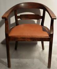Jugendstil Armlehnstuhl Stuhl Schreibtischstuhl Sessel Leder Eiche dunk Armchair