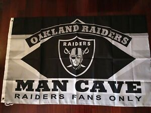 Oakland Raiders Man Cave 3x5 Flag. US seller. Free shipping within the US