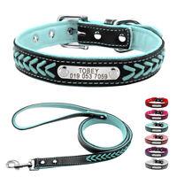Braided Leather Personalised Small Large Dog Collar & Leash Custom ID Nameplate