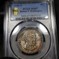 1946-S MS67 Booker T Washington Commemorative 50c, PCGS Graded, Earthy Toning