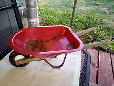 Vintage Radio Flyer Little Red Toy Wheel Barrow Metal w/ Hardwood Handle