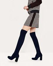 ZARA Navy Blue Stretch Leg High Heel Over The Knee Boots size uk 5 38